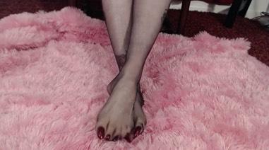 Long Toenails in Sheer Black Pantyhose