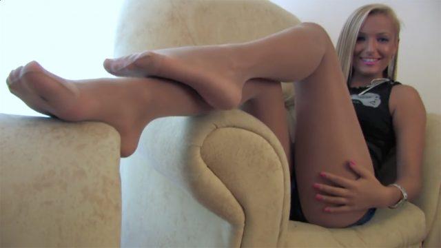 pink toenails in sheer hose