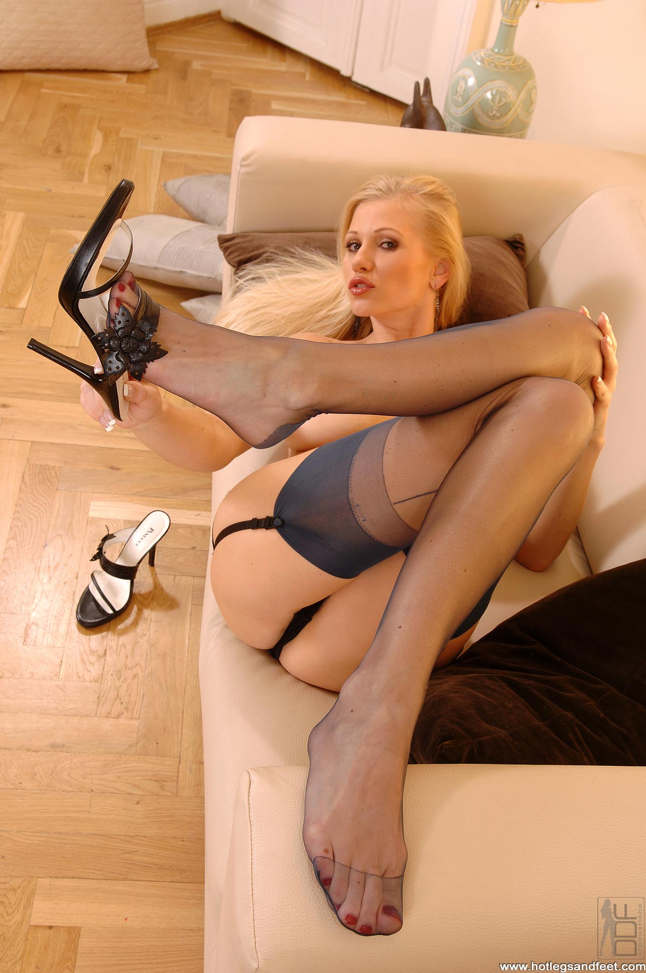 Adoration of nylon feet by slaves with a lot of sperm 3