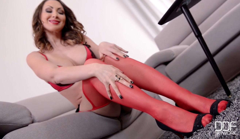 Yasmin Scott in Sheer Red Stockings